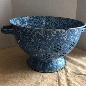 Vintage blue white enamel colander